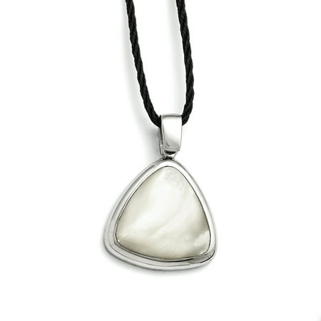 Stainless Steel Mother Of Pearl 2 Inch Extension Fabric Link Cord Chain Necklace Pendant Charm Gifts For Women For Her