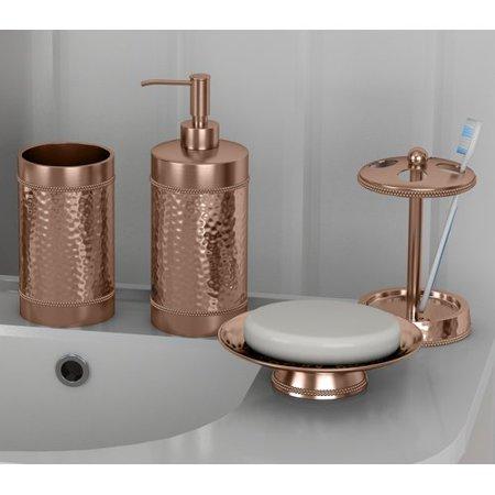 Rosdorf park nikolas copper hammered 4 piece bathroom accessory set for Hammered metal bathroom accessories