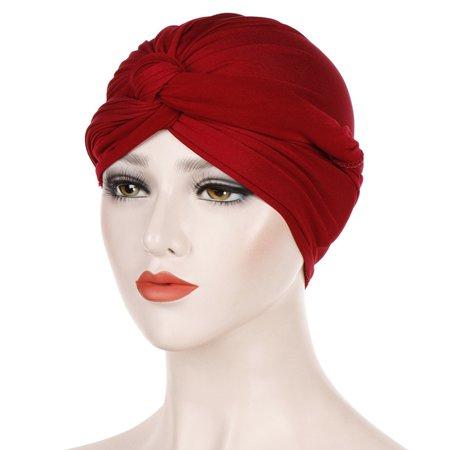 SHOPFIVE Women Solid Color Elastic Headscarf Muslim Turban Caps Indian Hat Headgear Hat Scarf Turban Wrap Cap