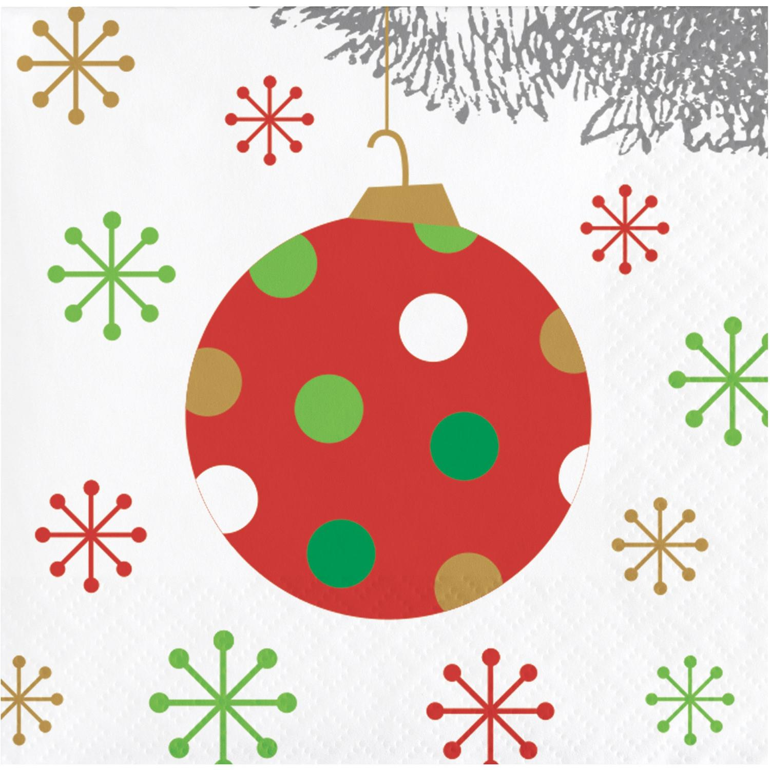 Pack of 192 Red and White Christmas Ball Ornament Party Beverage Napkins 5""