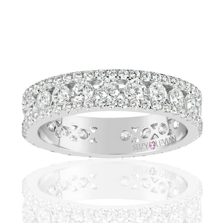 Sterling Silver Cubic Zirconia White Three Row Modern Eternity Band (Sterling Three Row)