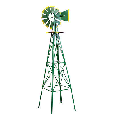 TheBest 8Ft Tall Windmill Ornamental Wind Wheel Green And Yellow Garden Weather Vane... by