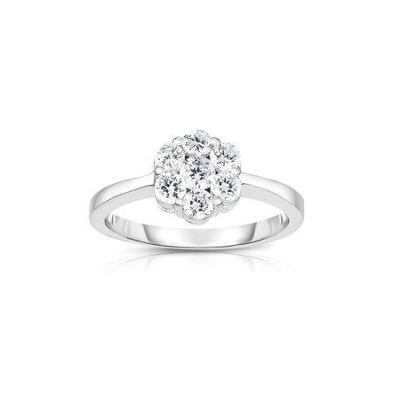 Large Cluster Ring (14K White Gold Diamond (0.75 Ct, G-H Color, SI2 Clarity) Cluster Ring)