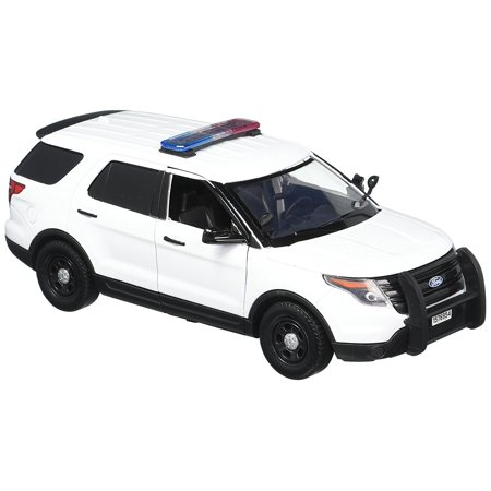 Police Car Lamp - 1:24 White 2015 Ford Interceptor Unmarked Police Car with Light Bar, White, 1:24 white Ford unmarked police By Motormax