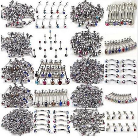 100Pcs/Lot 10Styles 316L Stainless Steel Crystal Tongue Belly Lip Eyebrow Nose Barbell Rings Body Piercing Jewelry