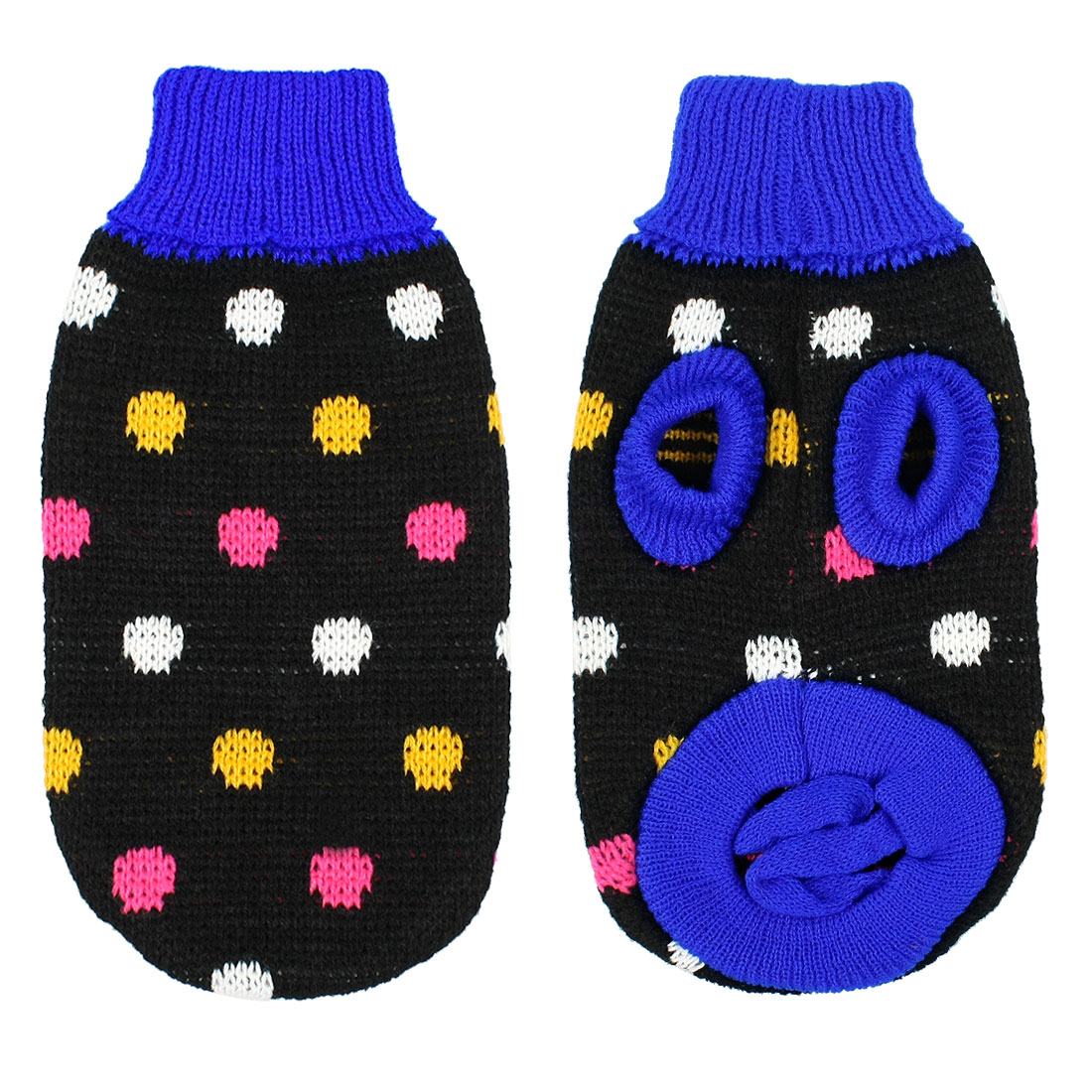 Unique Bargains Unique Bargains Pet Dog Clothes Chihuahua Dotted Winter Knitted Coat Sweater Apparel Black XS