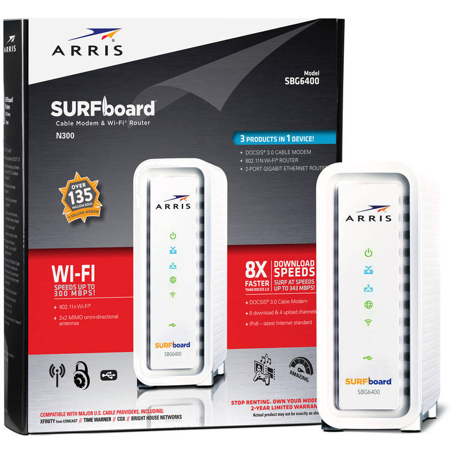 ARRIS SURFboard SBG6400 DOCSIS 3.0 Cable Modem/ N300 Wi-Fi Router