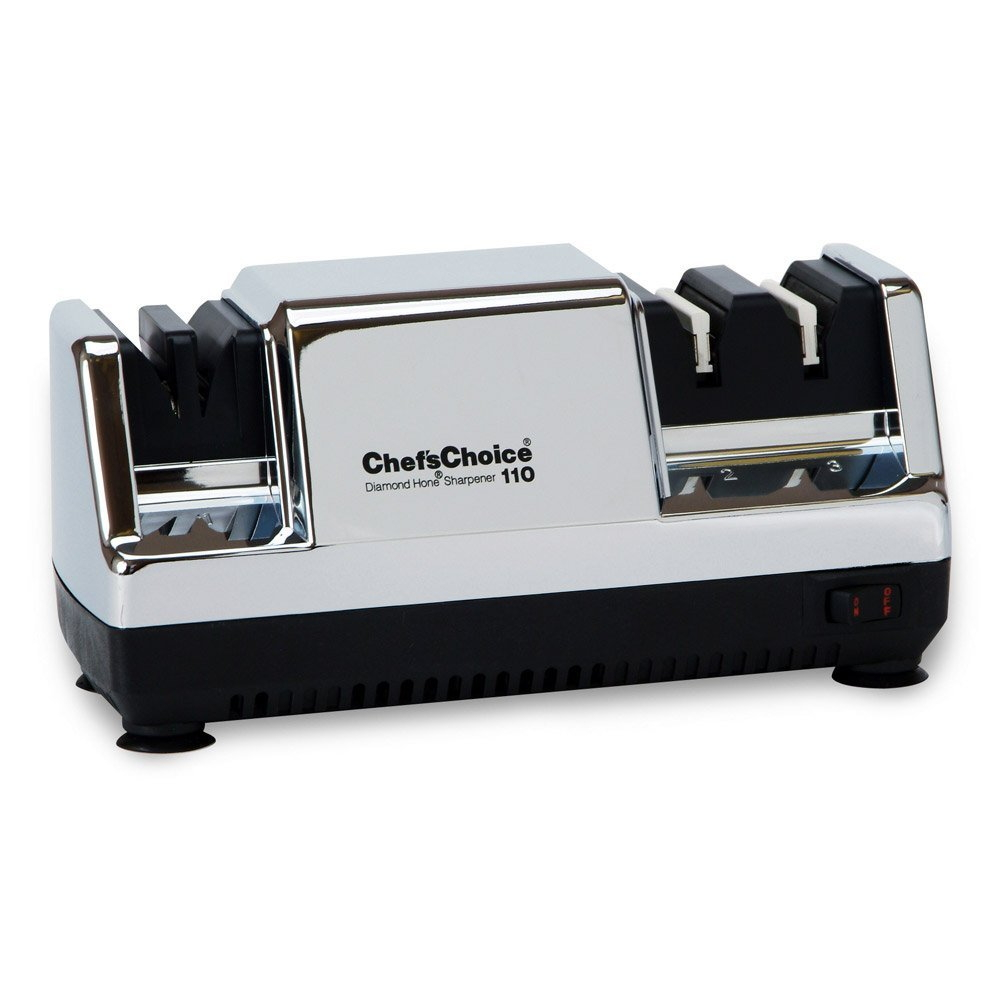 Click here to buy Chefs Choice 0110007 Diamond Hone Multistage Knife Sharpener in Chrome by Edgecraft.