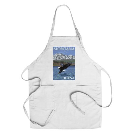 Helena  Montana   Eagle Fishing   Lantern Press Original Poster  Cotton Polyester Chefs Apron