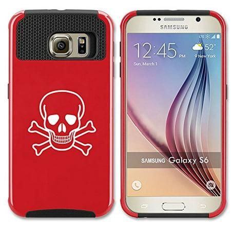 Samsung Galaxy S7 Shockproof Impact Hard Case Cover Skull Crossbones (Red (Crossbones Heart)