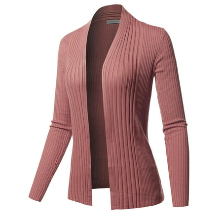Ribbed Long Cardigan - FashionOutfit Women's Basic Long Sleeve Open Front Ribbed Viscose Knit Cardigan