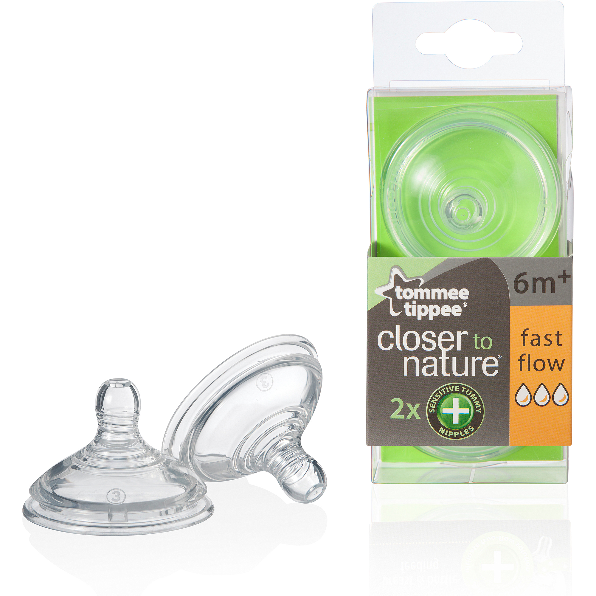 Tommee Tippee Closer to Nature Sensitive Tummy Nipple, Fast Flow, 2-Pack, BPA-Free