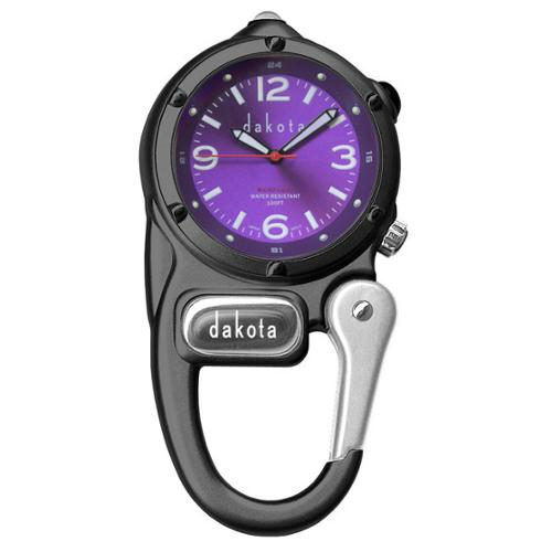 Dakota Watch Dakota Unisex Purple Dial Mini Clip Microlight Clock
