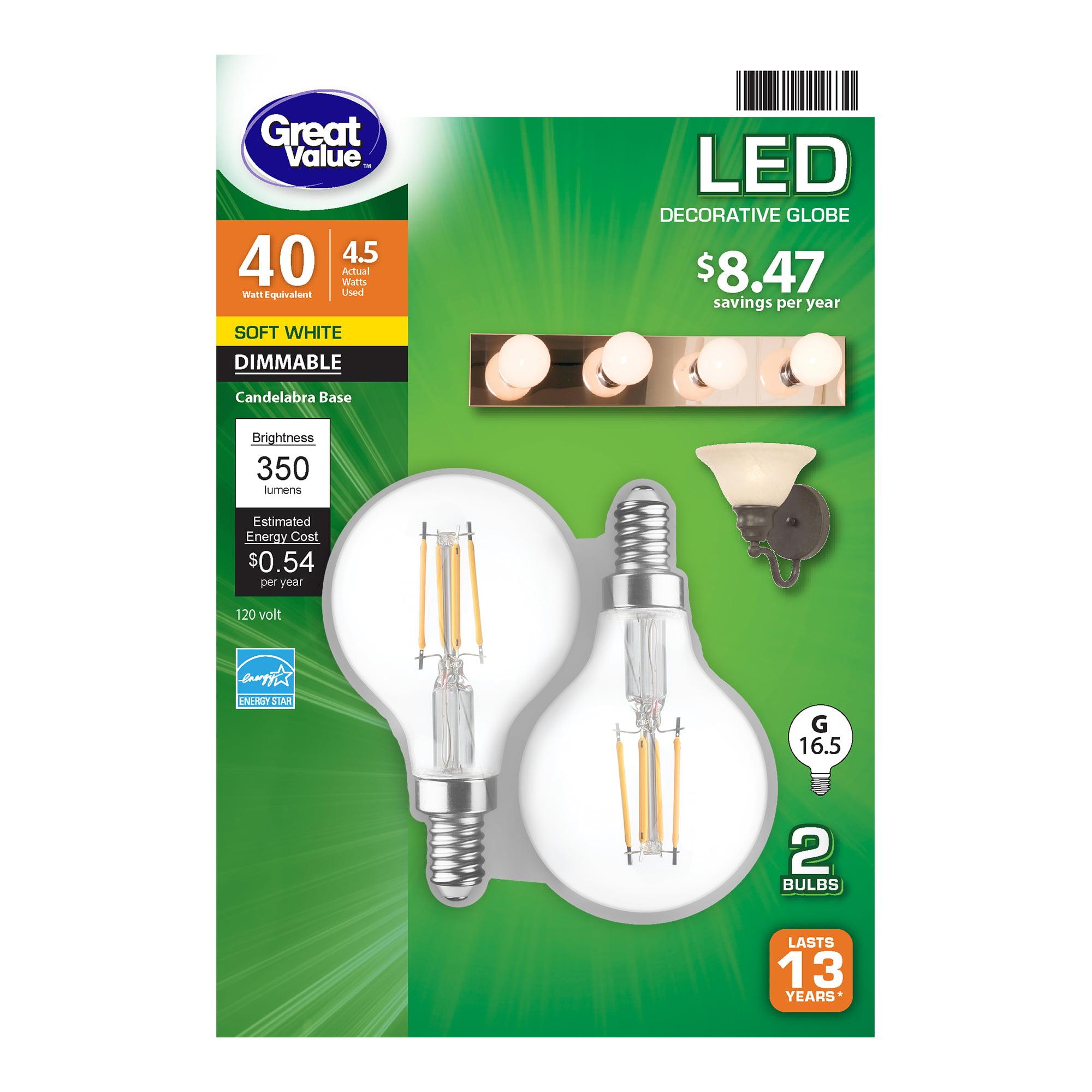 3 Pcs LED Bulb G16 Globe 5W Equivalent 40W E26 Warm White Compatible with Sunlite EOV293 #YY12R