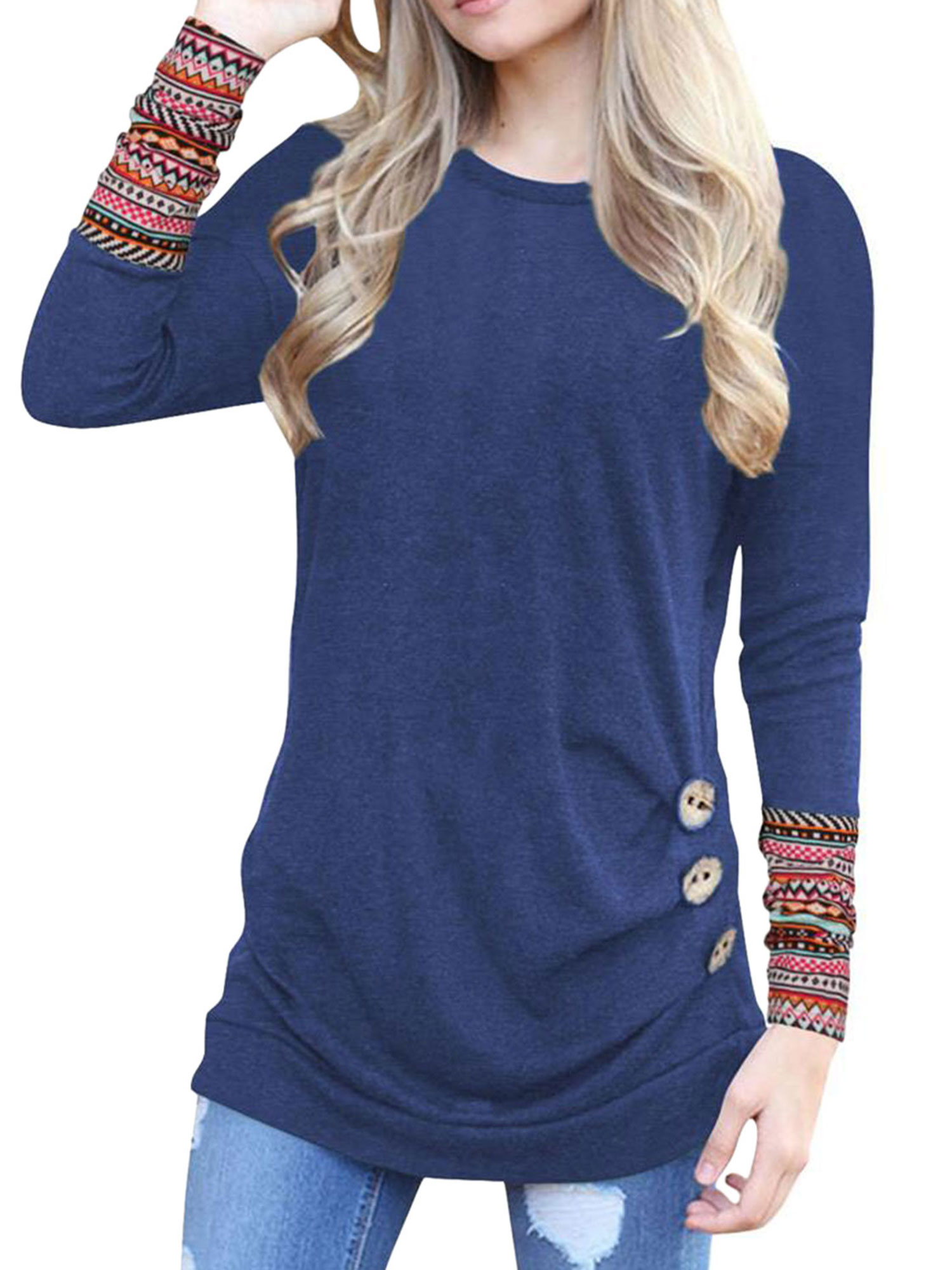 Nlife Women Boho Print Cuff Sleeve Side Button T-Shirt