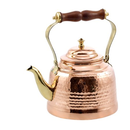 2 Qt. Solid Copper Hammered Tea Kettle w/Brass Spout/Knob and Wooden Handle