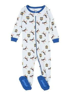 Leveret Kids Pajamas Baby Boys Girls Footed Pajamas Sleeper 100% Cotton (Police Dog, Size 4 Toddler)