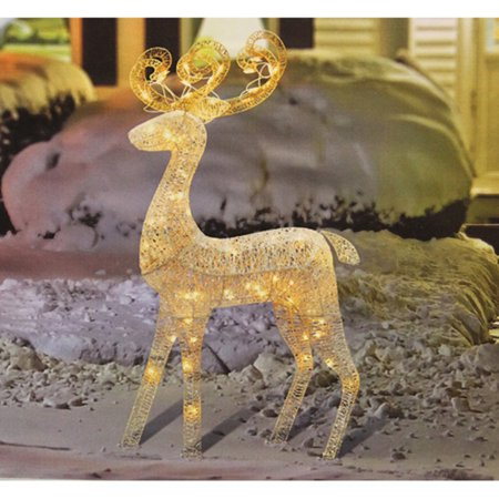 Northlight 48 in. Lighted White Glitter Standing Buck Outdoor Christmas Yard Display](Halloween Yard Display Ideas)