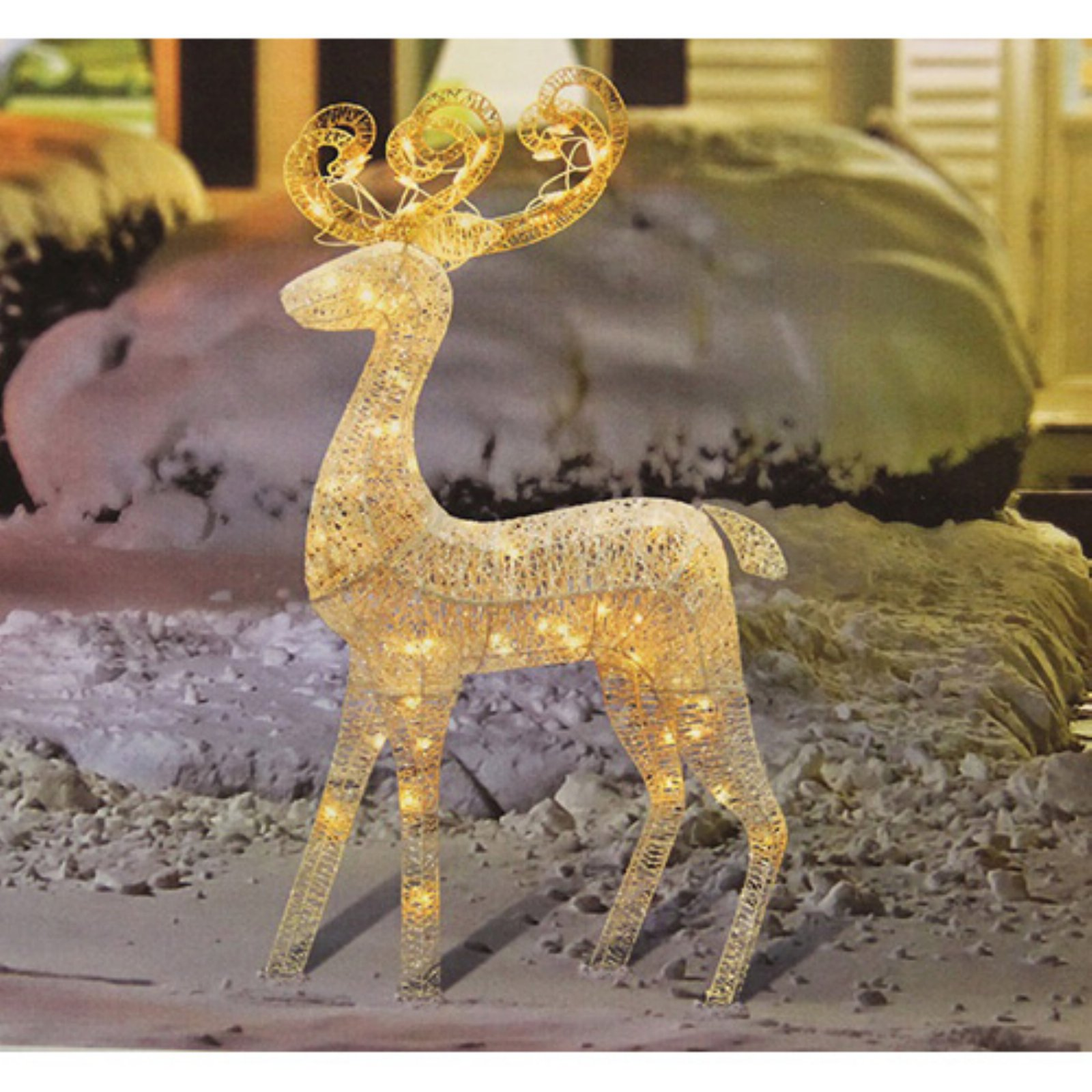 Northlight 48 in. Lighted White Glitter Standing Buck Outdoor Christmas Yard Display