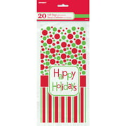 Happy Holidays Cellophane Bags, 20ct