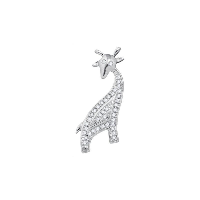 10K White Gold 0.10ctw Fancy Shiny Diamond Micro Pave Giraffe Fashion Pendant