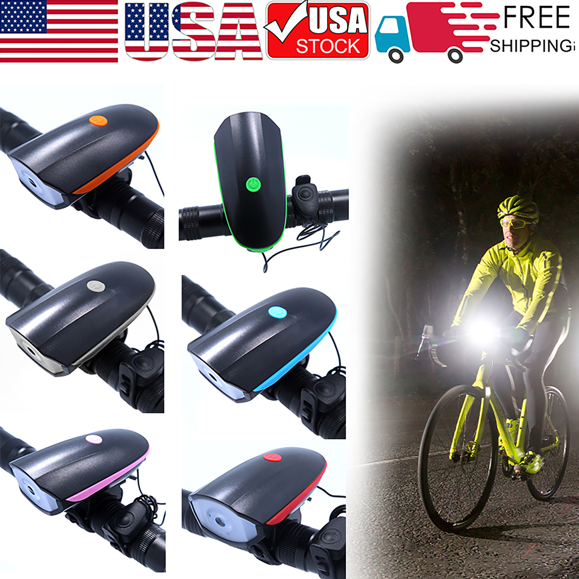 Bicycle Light USB Rechargeable Cycling Electric Horn Bell Handlebar Headlight