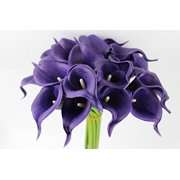 10pc set of Real Touch calla lily-Small Bloom Fragrance Flower perfect for making bouquet, boutonniere,corsage (Regency Royal Purple)