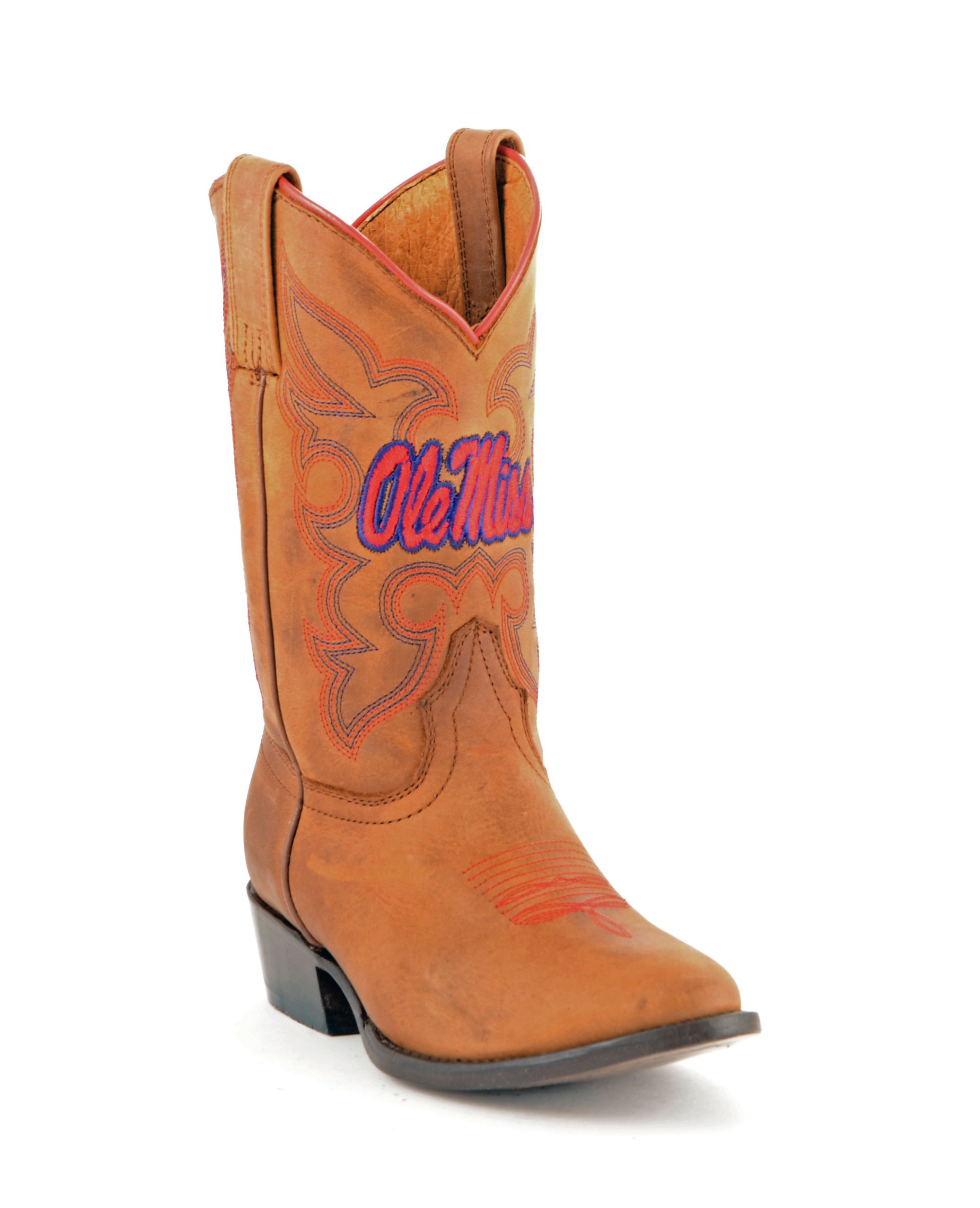 Gameday New Boys Honey Leather University of Mississippi Cowboy Boots by GameDay Boots