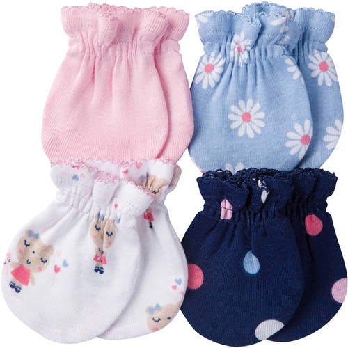 Newborn Baby Girl Assorted Mittens, 4-Pack