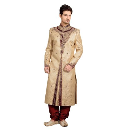 7d390818f3f Fancy Cream Brocade And Jacquard Silk Indian Wedding Sherwani For Men.