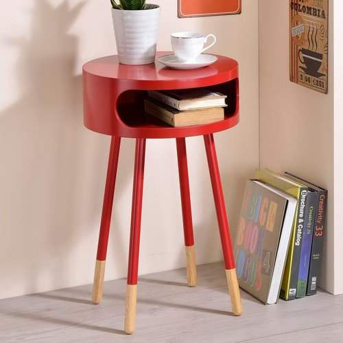 George Oliver Whiteway Wooden Round Nightstand with Open Drawer