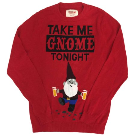 womens red knit take me gnome tonight christmas sweater holiday pullover size small
