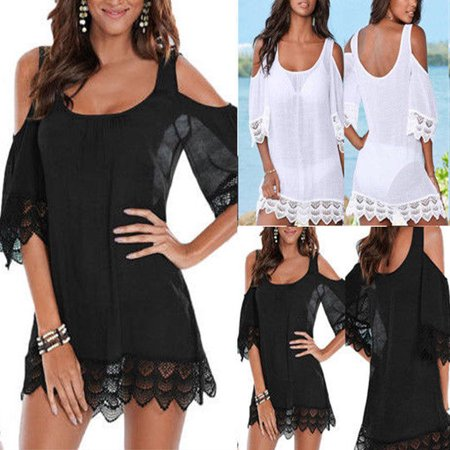 - US New Sexy Women Lace Crochet Bathing Suit Bikini Swimwear Cover Up Beach Dress