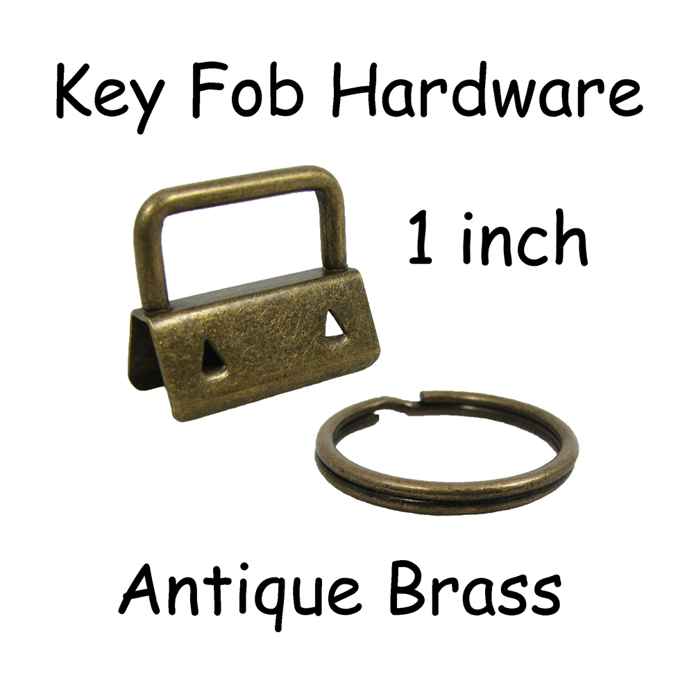 """100 Key Fob Hardware with Key Rings Sets - 1"""" or 1.25"""" - PICK COLOR"""