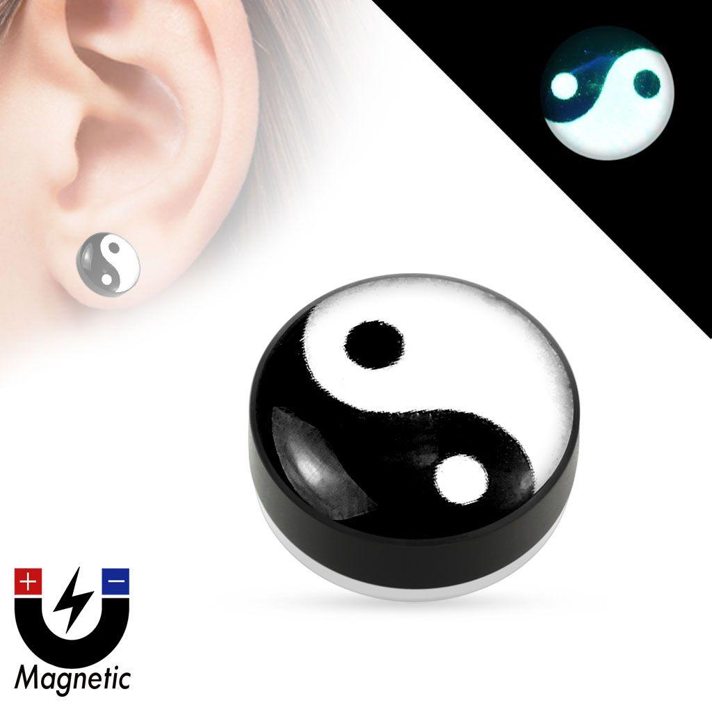 Epoxy Dome Top Black Acrylic Glow in the Dark Fake Magnetic Plug Yin Yang Pair