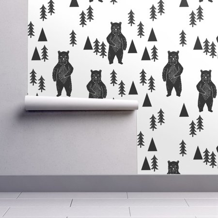 Peel-and-Stick Removable Wallpaper Woodland Bear Bear Bear Black And White Tree](Wallpaper Halloween Black And White)