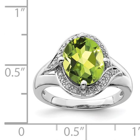 925 Sterling Silver Rhodium Diamond and Peridot Oval Ring - image 1 de 2
