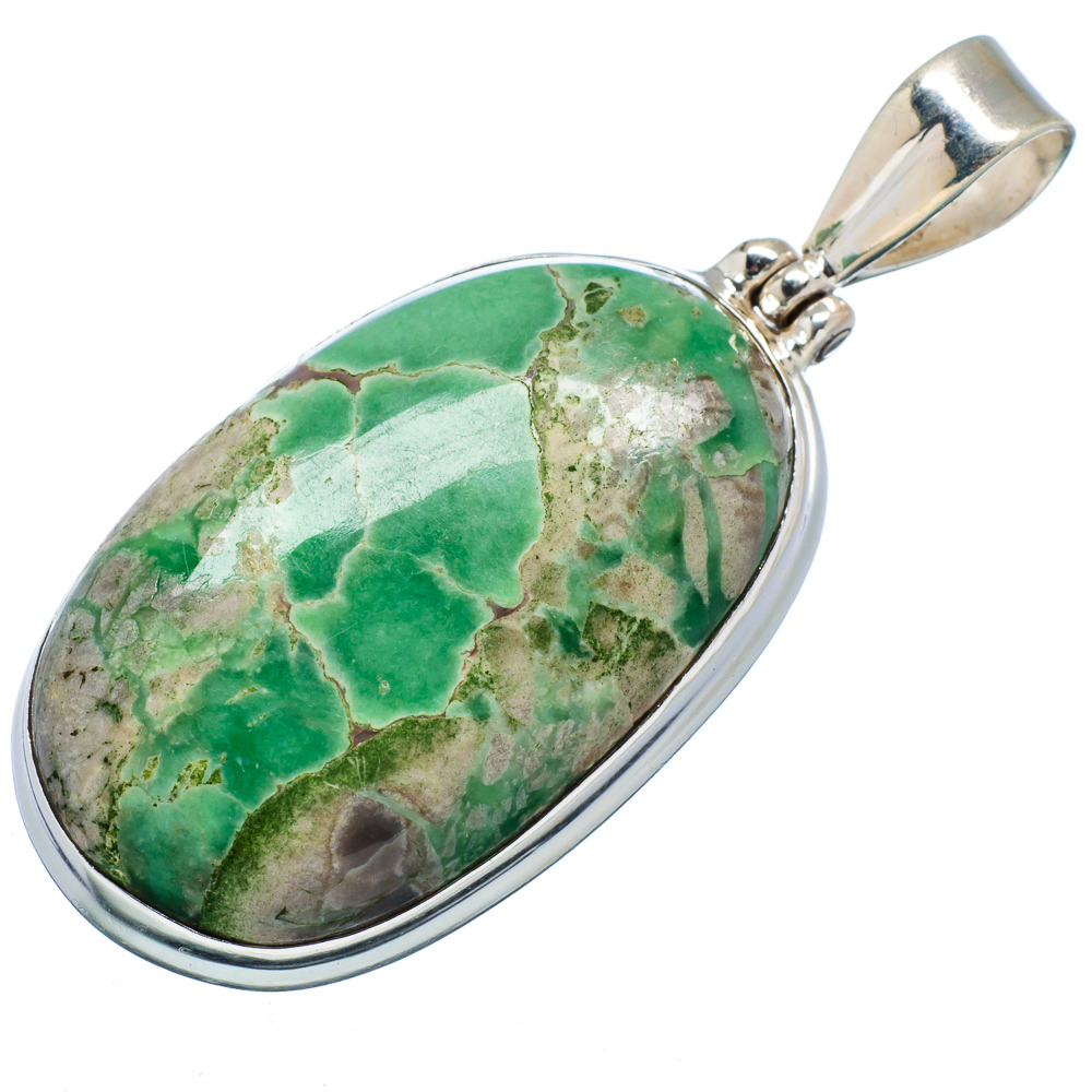 "Ana Silver Co Chrysoprase 925 Sterling Silver Pendant 2"" PD600065 by Ana Silver Co."