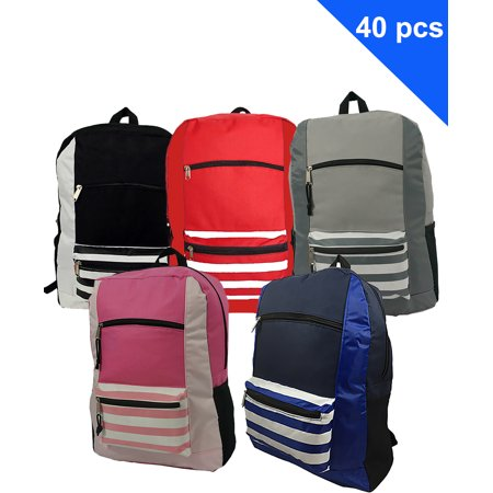 Book Bags In Bulk (Wholesale Classic Backpack 18 inch Printed Basic Bookbag Bulk Cheap Case Lot 40pcs Simple Schoolbag Promotional Backpacks Low Price Non Profit Giveaway Student School Book Bags 5 Assorted)