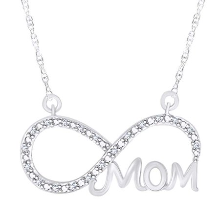 Wishrocks White Natural Diamond Mom Infinity Pendant Necklace 14k White Gold Over Sterling Silver (Gold Over Sterling Silver Pendant)