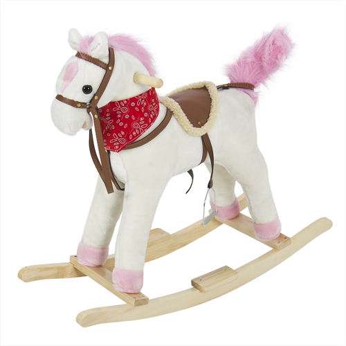 Rocking Horse Plush Pink With Sound Toy Girls Rocking Horse Solid Construction