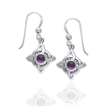 - Wheel of Being - Four Point Celtic Knot Northstar and Genuine Amethyst Sterling Silver Hook Earrings