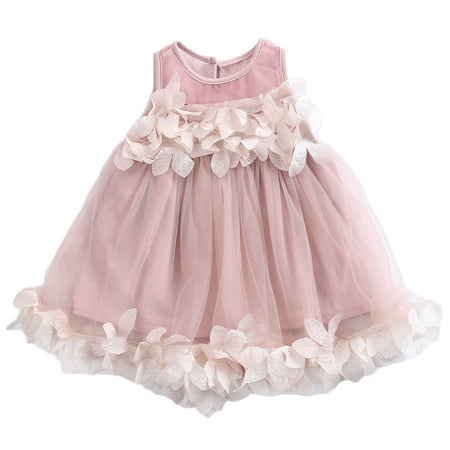 Baby Girl Petals Sleeveless Tutu Skirt Dress Wedding Dress