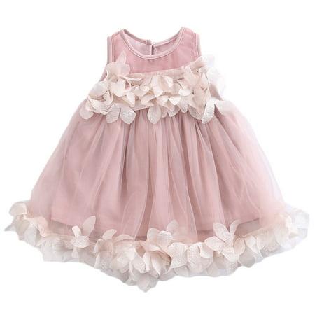 Baby Girl Petals Sleeveless Tutu Skirt Dress Wedding (Bridal Wedding Petticoat Skirt Dress)