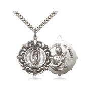 Sterling Silver Our Lady of Guadalupe / Martin de Porre 1 1/4 x 1 1/8 inches with Heavy Curb Chain