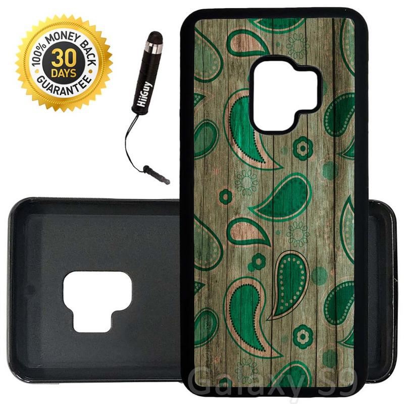 Custom Galaxy S9 Case (Mint Green Paisley Wood) Edge-to-Edge Rubber Black Cover Ultra Slim | Lightweight | Includes Stylus Pen by Innosub