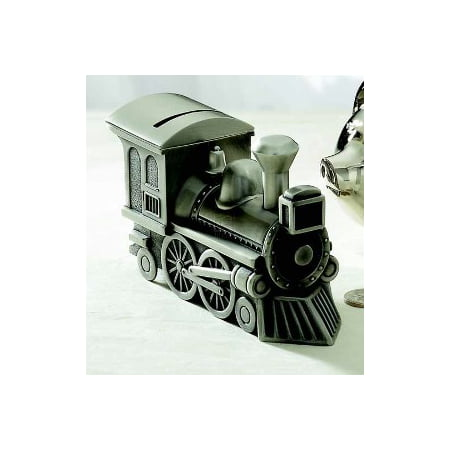 TRAIN BANK, PEWTER FINISH. Boy Train Bank