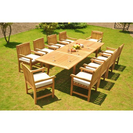 Teak Dining Set 10 Seater 11 Pc 117 Double Extensions Rectangle Table