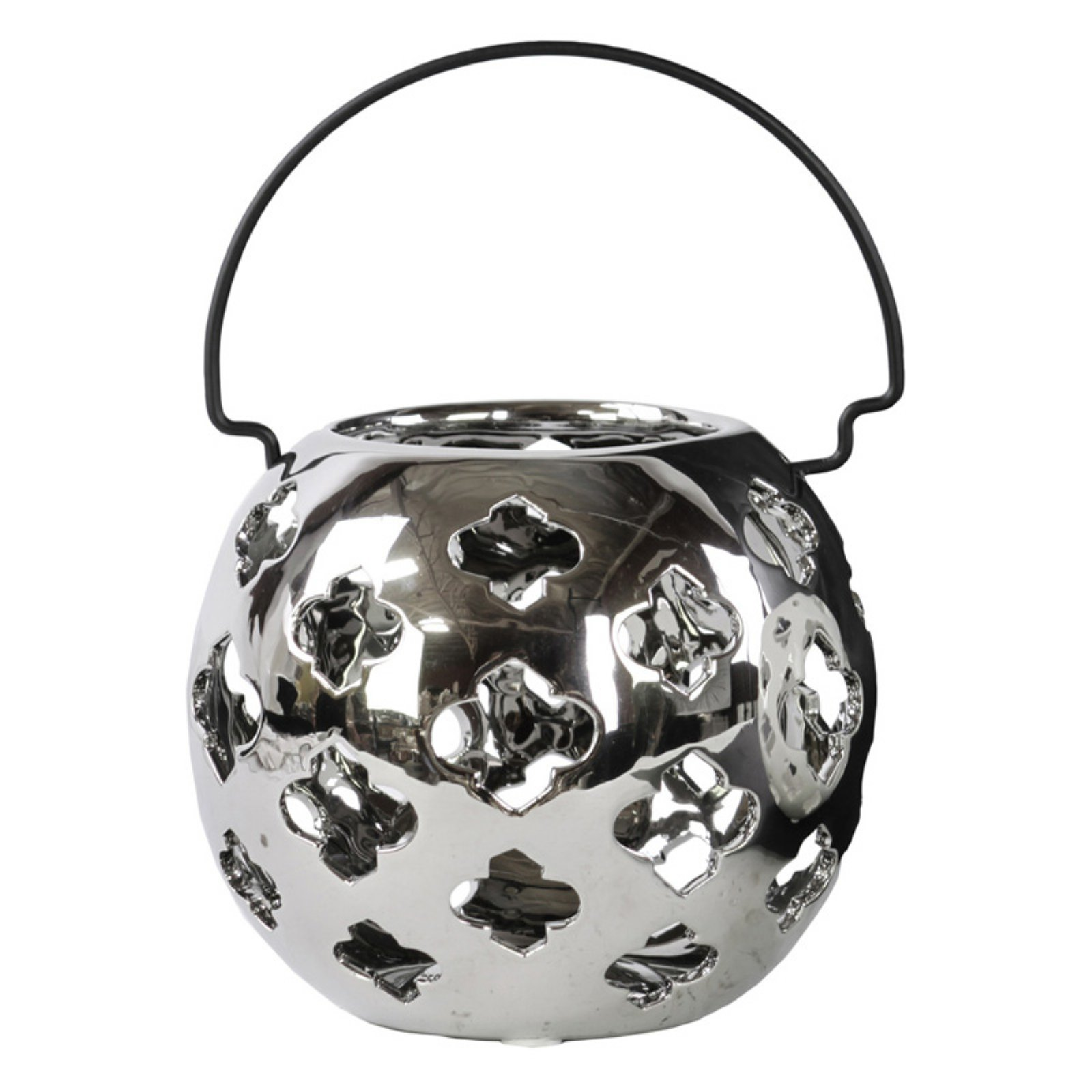 Urban Trends Collection: Porcelain Hand Lantern, Gloss Finish, White
