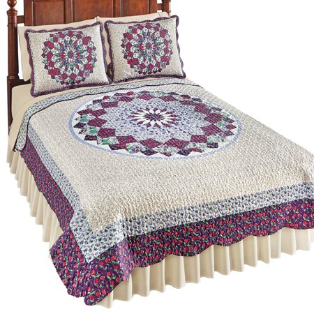Floral Scallop - Patchwork Quilt with Floral Medallion Pattern & Scalloped Edges, Twin, Purple Multi